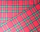 Red Royal Stewart Plaid Cotton Flannel Fabric - One Yard