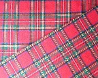 Red Royal Stewart Plaid Cotton Flannel Fabric - One Yard