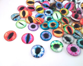 Multicolor Glass Eye Cabochons , Pick your size