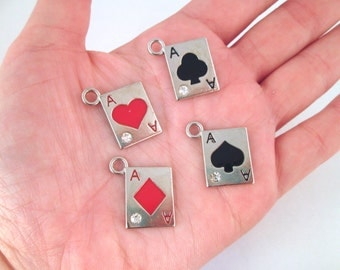 Set of 4 playing card charms, silver plated, A255