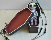 Mini Skeleton Original Hand Painted Day of the Dead Folk Art Cloth Doll Necklace OOAK