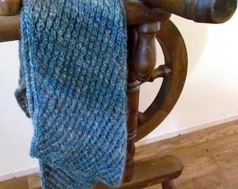 Saltspring Handspun handkint scarf - blue and grey like the winter waves of fulford harbour