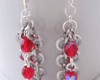 Red Earrings Cherry Red Earrings Round Silver Chain Dangle Earrings