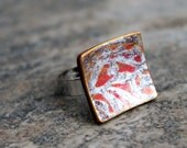 Square ring. Polymer clay. Adjustable. Silver orange.Abstract design. Clay fashion jewelry. Modern Contemporary Casual. Fimo Clay and Metal.