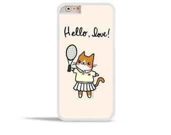 Samsung Galaxy S7 Cute iPhone 6s Case Tennis Cat Phone Case Hello Love Samsung Galaxy Note 5 Galaxy S7 Active Case