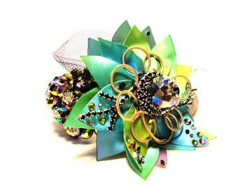 Barock Collection, rhinestone fantasy Bracelet, green, peacock tones