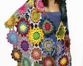 Boho Gypsy Crochet Shawl Hippie Patchwork Wrap Rainbow Crocheted Flower Shawl Bohemian Fashion Clothing Made to Order