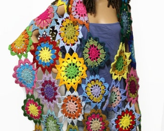 Boho Gypsy Crochet Japanese Flower Shawl Hippie Patchwork Wrap Rainbow Bohemian Fashion Clothing Made to Order