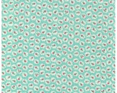 HALF YARD Yuwa - Petite Rose Buds on Blue - Atsuko Matsuyama 30s collection - Japanese Import Fabric