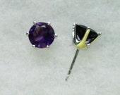 8mm Purple Amethyst Gemstones in 925 Sterling Silver 6 Prong Stud Earrings