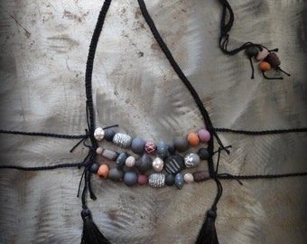 Statement Necklace, Handmade Clay Beads, Hand Painted, Boho, Original, As featured in Belle Armoire Jewelry magazine