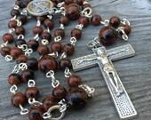 Genuine Mahogany Obsidian and pewter 5 decade rosary
