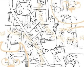 Digi Stamp Instant Download. Decor Kitties - Knitty Kitty Digis No. 2.
