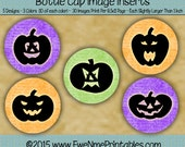 Instant Download - Printable 1 Inch Round Bottle Cap Images - Jack O Lantern Silhouette - 4x6 JPG and 8.5x11 Digital PDF and/or JPG File