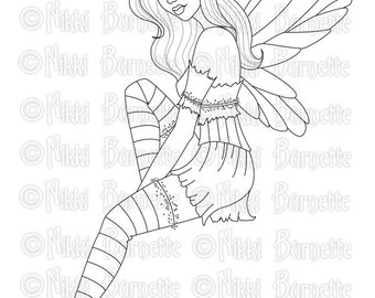 Digital Stamp - Printable Coloring Page - Fantasy Art - Fairy Stamp - Adult Coloring Page - Shelby - by Nikki Burnette - PERSONAL USE