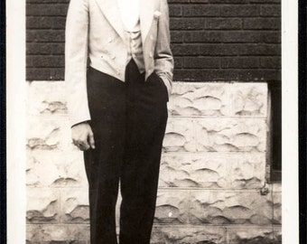 vintage photo 1931 Young Man Handsome in tuxedo White shoes