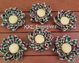 6 DOUBLE LAYERED Homespun Fabric Flower Bowlfillers red/green/tan checked