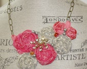 Rosette Fabric Bib Necklace Gray and Dark Pink Statement or Wedding Piece
