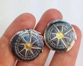 My True North Cufflinks - 24K Gold Accent Compass and Paisley Fine and Sterling Silver - Made to Order