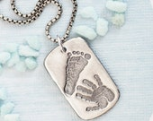 Mens Personalised Handprint Footprint Dog Tag Necklace - Actual baby footprint handprint, Father's day, footprint necklace