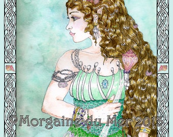 Fand Fairy Queen Celtic Sea Goddess Mermaid Fantasy Fine Art Print Seashell or Knotwork Border Ink and Watercolours