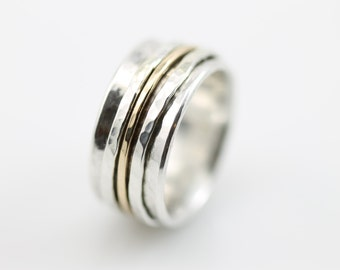 Wide Hammered Spinner Ring (with Solid Gold Spinners), silver ring, sterling silver ring, meditation, sterling silver