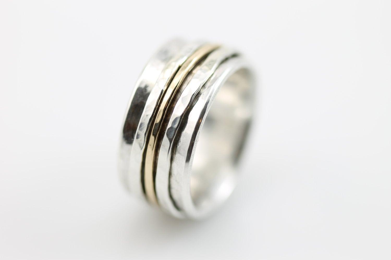 Wide Hammered Spinner Ring Meditation Ring Wedding Band