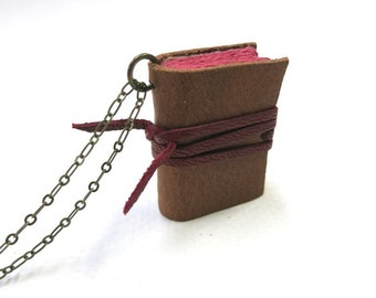 Mini diary on a chain book pendant necklace