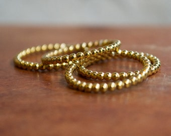 Yellow gold band, Gold wedding band, boho band, Thin band, Dots band, skinny ring, gold simple ring, stacking ring, ball ring - Happy R2282
