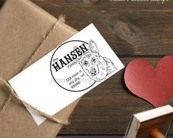 0381 NEW! JLMould German Shepherd Shepard AKC Dog return address  Red Rubber Professional Mounted Stamp Fast Shipping