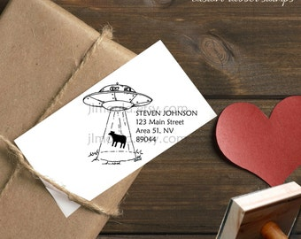 0384 New! JLMould Custom Area 51 Aliens Personalized Return Address Rubber Stamp