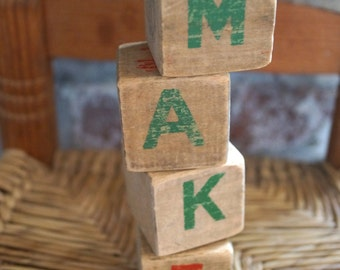 MAKE Blocks Vintage - Nursery - creative - wood block - mixed media