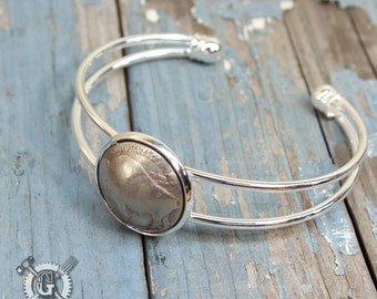 Dapped Buffalo Nickel Cuff Bracelet - Buffalo Up - Recycled Coin Jewelry by Doctorgus - Gypsy Boho Bohemian Pirate Steampunk Cowgirl Style
