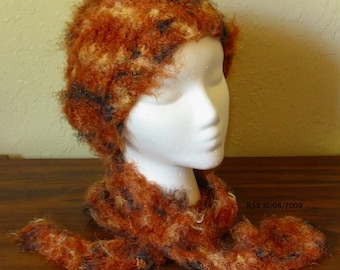 Fancy Fur Scarf and Hat Set - Handmade Crochet in Hickory Red Browns Soft Eyelash Yarn - Long and Skinny Scarf - Slouchy Hat - Adult