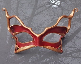 Pixie Cat Masquerade Mask - Sculpted Leather Wearable Art Mask in Ruby and Bronze