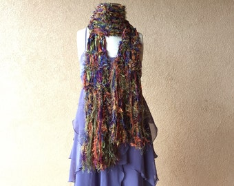 Boho Accessories Scarf - Boho Fashion Fringe Scarf Boho Gypsy Scarf with Green, Blue, Purple, Rust