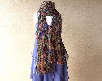 Boho Accessories Scarf - Boho Fashion Fringe Scarf Boho Gypsy Scarf with Green, Blue, Purple, Rust