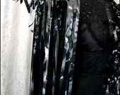 Theatrical Avant Garde Glossy Black Cape or Dramatic Shawl - Made from Reflective Black Vintage Video Cassette Tape - Environmental Couture