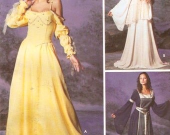 Dreamy Renaissance gown Tabard tunic bustier armbands tie belt historical costume wedding dress sewing pattern Simplicity 5843 Sz 12 to 20