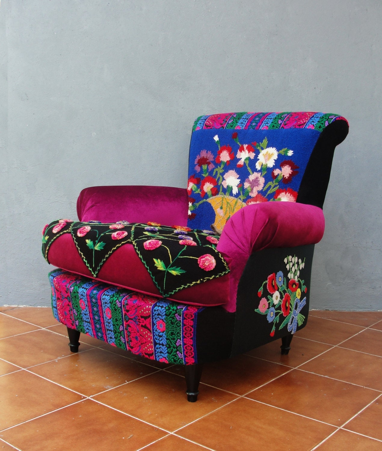 Embroidered Armchair Bohemian Wooden Furniture Vintage