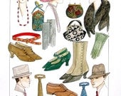 Men's and Ladies' Fashion - Hats, Neckwear, Shoes, Belts, Jewelry - Early 1900's - Reference Material -1993 Vintage Book Page - 9.5 x 8