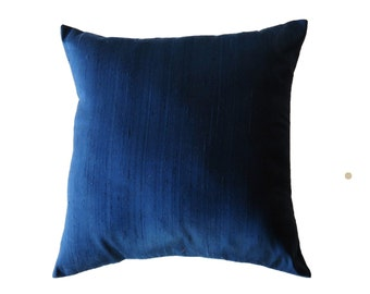 Blue Pillow Cover -- Silk Navy Blue Dark Blue Decorative Cushion Cover -- 16 x 16