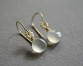 White chalcedony pearl earrings gold white stone earrings pearl necklace bridal jewelry bridal earrings Kahili Creations wedding jewelry