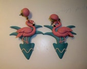 Pink Flamingo Earrings Vintage Novelty Earrings with Pink Flamingo in Turquoise Palm Tree Long Dangle Earrings