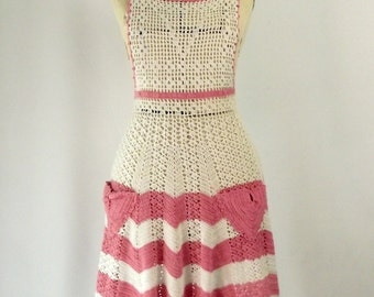 Crocheted Cotton Apron Pink and White Full Apron Dress Pinafore Bohemian Layers