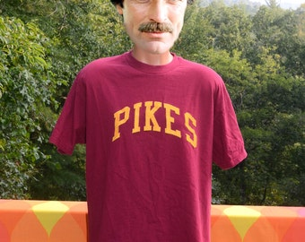 vintage 90s t-shirt PIKE pi kappa alpha greek letters college fraternity frat tee Large XL maroon gold