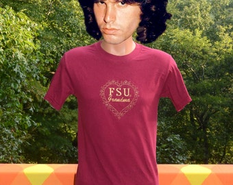 vintage 80s tee FSU grandma florida state university seminoles heart love t-shirt Small XS garnet