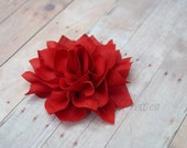 Crimson Red Flower Hair Clip - Lotus Blossom - With or Without Rhinestone Center