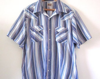 Vintage 60s 70s Ely Cattleman Blue Striped Short Sleeved Western Snap Button Shirt (size large)