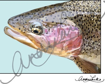 "Little Juniata Rainbow Trout Fish Art Print 8.5""x11"""